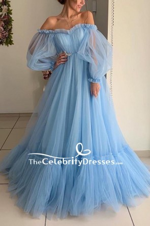 Light Sky Blue Ruffled Off The Shoulder Ball Gown