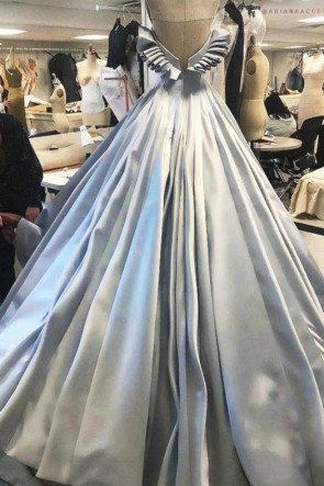 Train Light Sky Blue Strapless Ruffled Wedding Dress TCD8565