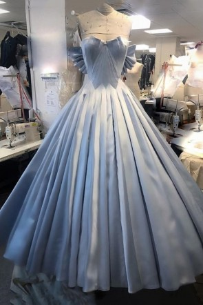 Train Light Sky Blue Strapless Ruffles Evening Prom Dress