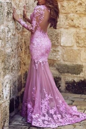 Sexy Lilac Long Sleeve Mermaid Backless Evening Gown Wedding Dress