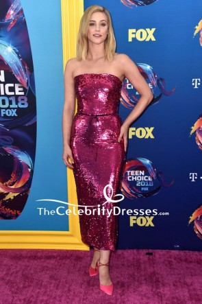 Lili Reinhart Fuchsia Strapless Cocktail Dress 2018 Teen Choice Awards