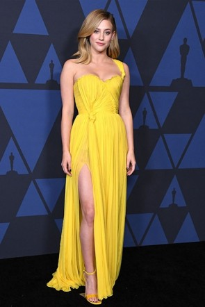 Lili Reinhart Yellow One Shoulder Dress 2019 Governors's Awards