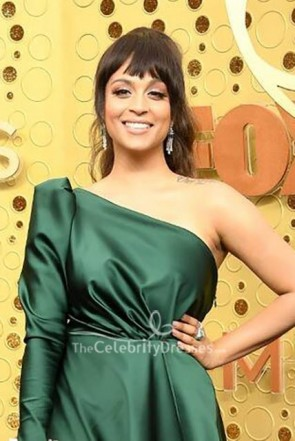 Lilly Singh Dark Green One Shoulder Dress 2019 Emmy Awards TCD8692