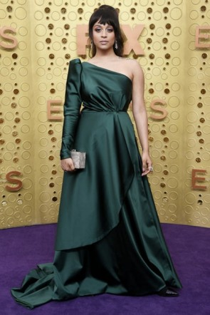 Lilly Singh Dark Green One Shoulder Dress 2019 Emmy Awards