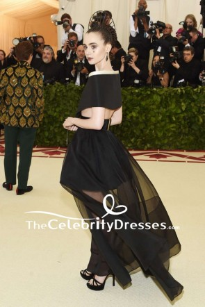 Lily Collins Black Two Pieces Off-the-shoulder Evening Formal Dress 2018 MET Gala TCD7862