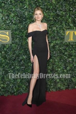 Lily Donaldson Black Off-the-shoulder Evening Prom Gown London Evening Standard Theatre Awards 2016 1