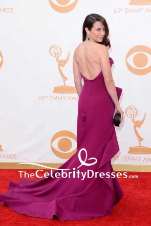 Linda Cardellini Strapless Backless Ruffled Evening Dress 2013 Emmy Awards Red Carpet Gown TCD7543