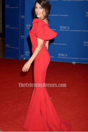 Lisa Edelstein Red Mermaid Evening Gown 2016 White House Correspondents' Association Dinner  TCD6769