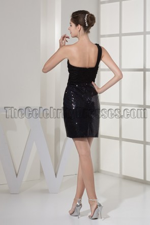 Little Black One Shoulder Short Party Homecoming Dresses