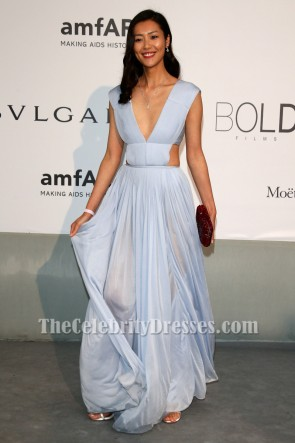 Liu Wen Sexy Backless Evening Gown amfAR's 21st Cinema Against AIDS Gala TCD6885