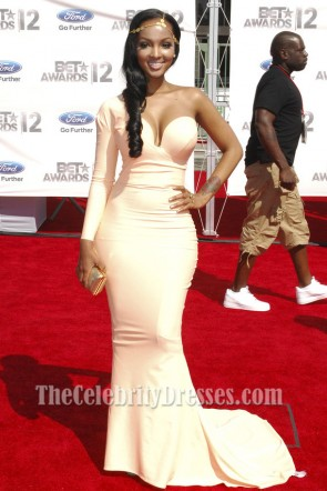 Lola Monroe One Sleeve Evening Dress 2012 BET Awards Red Carpet Gown