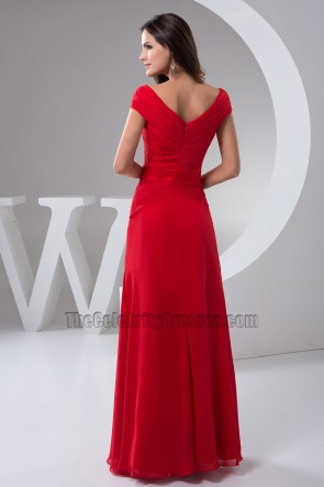 Long Red V-Neck Cap Sleeves Formal Gown Evening Prom Dresses