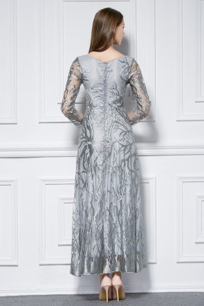 Long Sleeve Gray Embroidered Formal Dress Evening Prom Gown TCDBF448