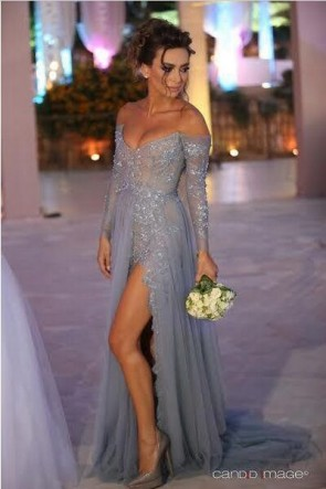 Long Sleeve Off Shoulder Tulle Lace Prom Evening Dress With Side Slit TCD6588
