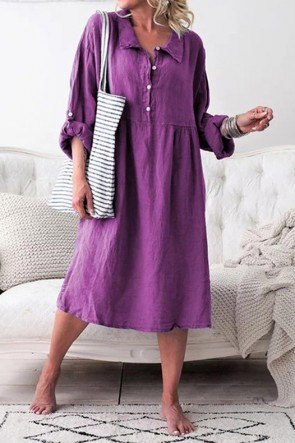 Loose Long Sleeves Buttons Midi Dress