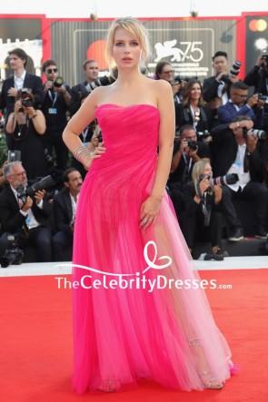 Lottie Moss Fuchsia Strapless Sheer Tulle Evening Dress 2018 Venice Film Festival