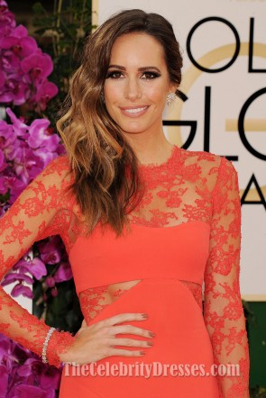 Louise Roe Orange Lace Prom Evening Dress 2014 Golden Globe Awards Red Carpet