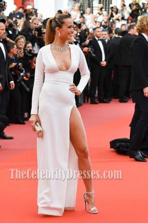 Petra Nemcova White High-slit  Square Neckline Long Sleeves Column Dress 2017 Cannes Film Festival