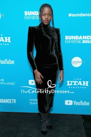 Lupita Nyong'o Black Velvet Cocktail Dress With Sleeves Sundance Film Festival