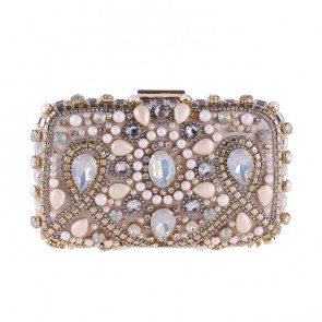 Luxury Apricot Beading Handmade Evening Clutches Bag