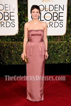 Maggie Gyllenhaal Strapless Prom Evening Dress Golden Globes Red Carpet 2015 2