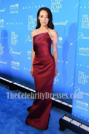 Maggie Q Burgundy Strapless Mermaid Prom Gown 12th Annual UNICEF Snowflake Ball TCD7010