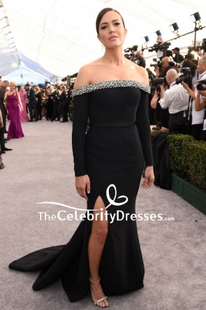 Mandy Moore Black Off Shoulder Slit Evening Dress With Sleeves 2019 SAG Award
