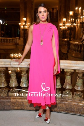 Mandy Moore Hot Pink And Red Cocktail Dress label Fall 2018 show
