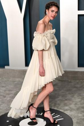 Margaret Qualley Champagne High Low Off Shoulder Evening Dress