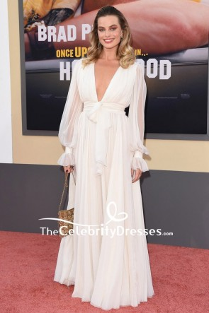 Margot Robbie Ivory Evening Dress With Sleeves A Premiere of 'Once Upon a Time in Hollywood'