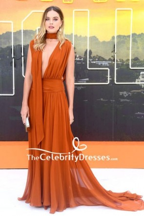 Margot Robbie Once Upon a Time in Hollywood Premiere Orange  Evening Dress