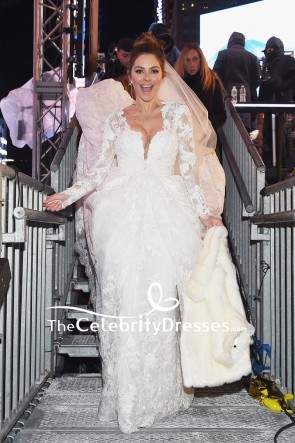 Maria Menounos White Lace Wedding Dress With Long Sleeves Live From Times Square Show TCD7650
