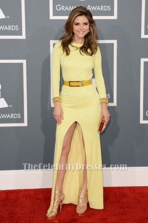 Maria Menounos Long sleeves Formal Dress Evening Gowns Grammys 2013 Red Carpet