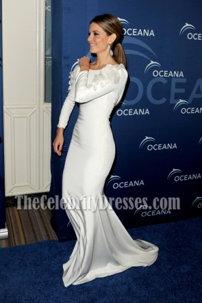 Maria Menounos White Long Sleeve Evening Dress Oceana Partners Award Gala TCD6932