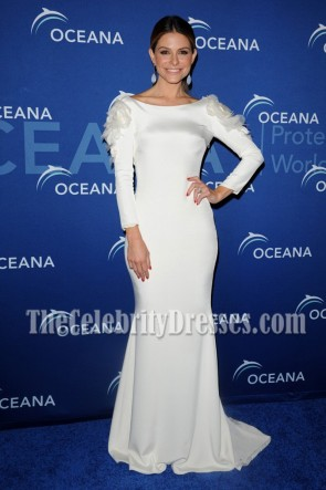 Maria Menounos White Long Sleeve Evening Dress Oceana Partners Award Gala 2