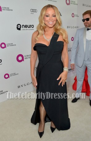 Mariah Carey Black One-shoulder High-slit Evening Prom Gown Elton John Aids Foundation's Oscar Viewing Party 4