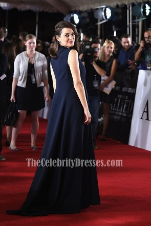 Marion Cotillard Blue Sleeveless Evening Prom Gown Paramount Pictures 'Allied' TCD6948