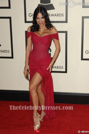 Mayra Veronica Red Off-the-Shoulder Prom Dress Grammy Awards 2008
