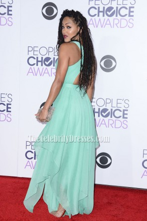 Meagan Good Mint V-neck Evening Dress 2016 People's Choice Awards TCD6801