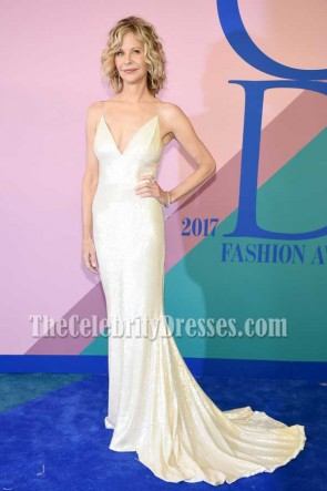 Meg Ryan Champagne Spaghetti Straps Sequins Mermaid Dress 2017 CFDA Fashion Awards