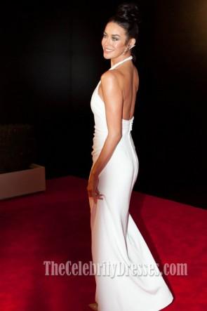 Megan Gale White Halter Prom Dress 2013 Logie Awards Red Carpet