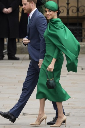 Meghan Markle  Green Caped Midi Dress 2020 Commonwealth Day Service