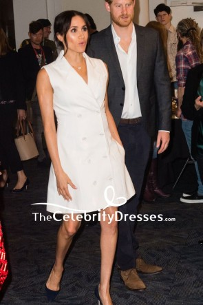 Meghan Markle White Sleeveless Tuxedo Dress Visiting Courtenay Creative TCD8133
