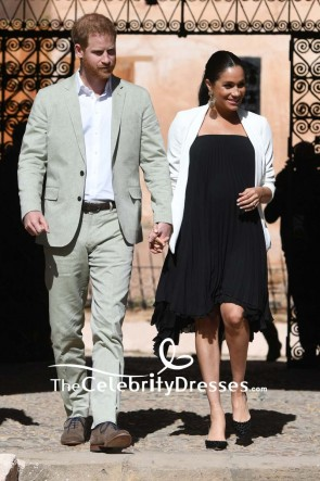 Meghan Markle Strapless Black Little Pleated Dress Visiting Andalusian Gardens TCD8325