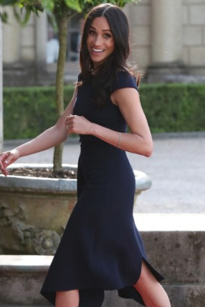 Meghan Markle Dark Navy Cocktail Dress Night Before Wedding TCDTB8856