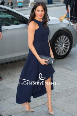 Meghan Markle Dark Navy High Low Sleeveless Cocktail Dress Auckland War Memorial Museum