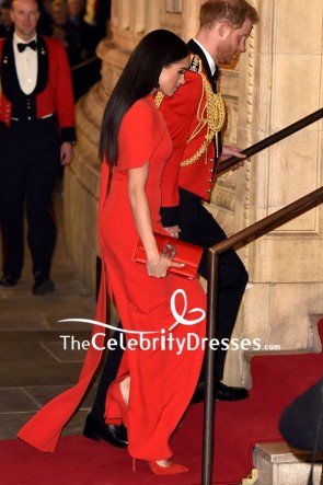 Meghan Markle Red Column Capped Evening Dress Mountbatten Music Festival TCD8878