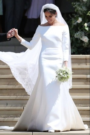 Meghan Markle Weds Prince Harry Elegant Long Sleeve Wedding Dress
