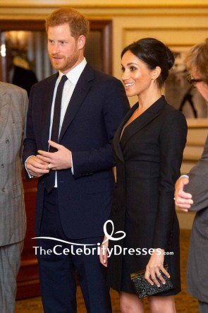 Meghan Markle Black Blazer V-neck Coat 2019 TCD8550