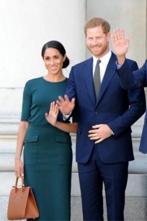 Meghan Markle Dark Green Sheath Two Pieces Dress 2019